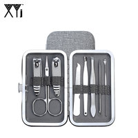 XYj Manicure Set 8 PCS/Set Easy to Carry Nail Clippers Kit Manicure Tools Nail File Scissors Nail Care Tools Set with Gray Case