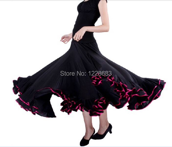 Red Black Green Blue Purple Pink Women Spanish Faldas De Baile Flamenco Dance Skirt Costume Bailar Flamenco Dresses For Girls