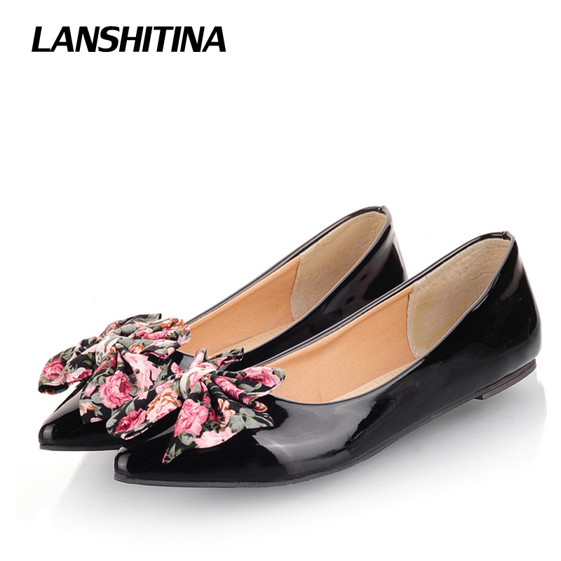 LANSHITINA Big Size 30-49 Women Flat Shoes Bow Cute Pointed Fashion Ladies Spring Summer Flats Chaussure Femme Boat Shoes G782 eiswelt shoes spring summer fashion rivet flats party pointed flock women shoes wedding shoes glitter flat ladies shoes zjf84
