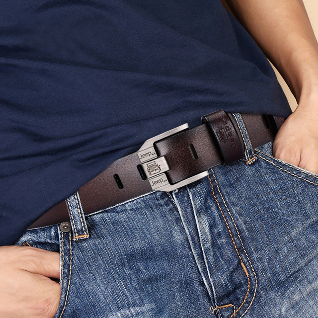 Genuine Leather High Quality Black Buckle Jeans Cowskin Casual Business Belt Cowboy waistband 3