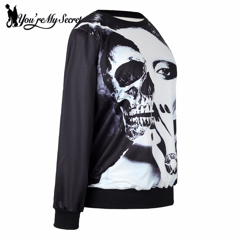 [Youre My Secret] Fashion Autumn Women Halloween Hoody Long Sleeve 3D Printed Black White Gothic Sweatshirt Casual Loose Suit
