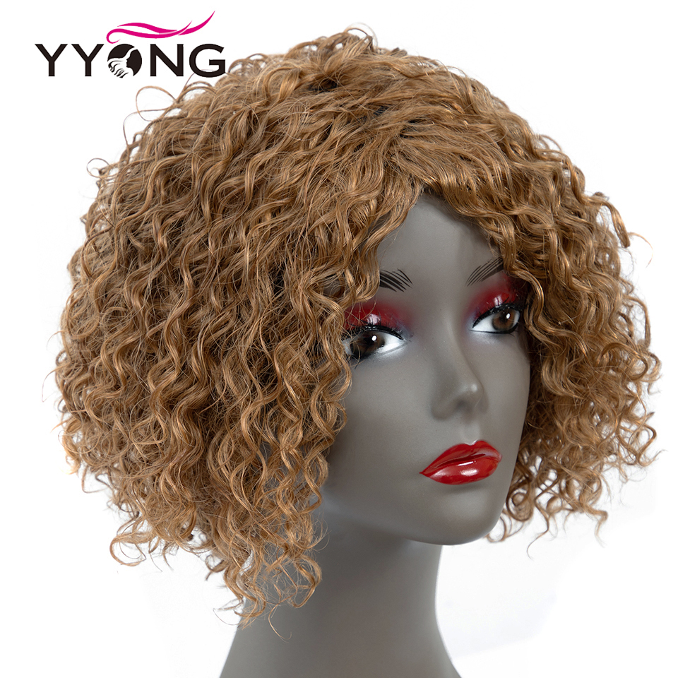 Yyong Bouncy Deep Curl Human Hair Wigs Short Non Lace Brazilian Human Hair Wigs For Black
