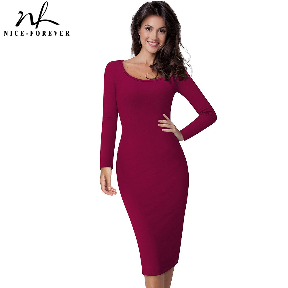 Nice-forever Casual Work Vintage Mid-Calf Dress Stylish Brief Office Lady Solid Scoop Neck Full Sleeve Sheath Pencil Dress B19