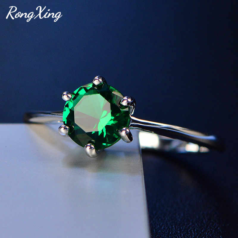 RongXing 925 Sterling Silver Filled Round Birthstone Rings For Women Fashion Green/Pink/Lake Blue Zircon Ring Mother's Day Gift