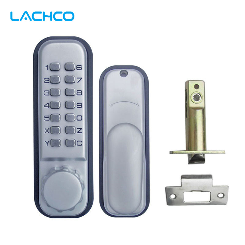 LACHCO Mechanical Code Door Lock Digital Machinery Keypad Password Entry lock Stainless Steel Latch Zinc Alloy Silver  L17011 bqlzr 8 inch hairline finish silver security door slide flush latch bolt