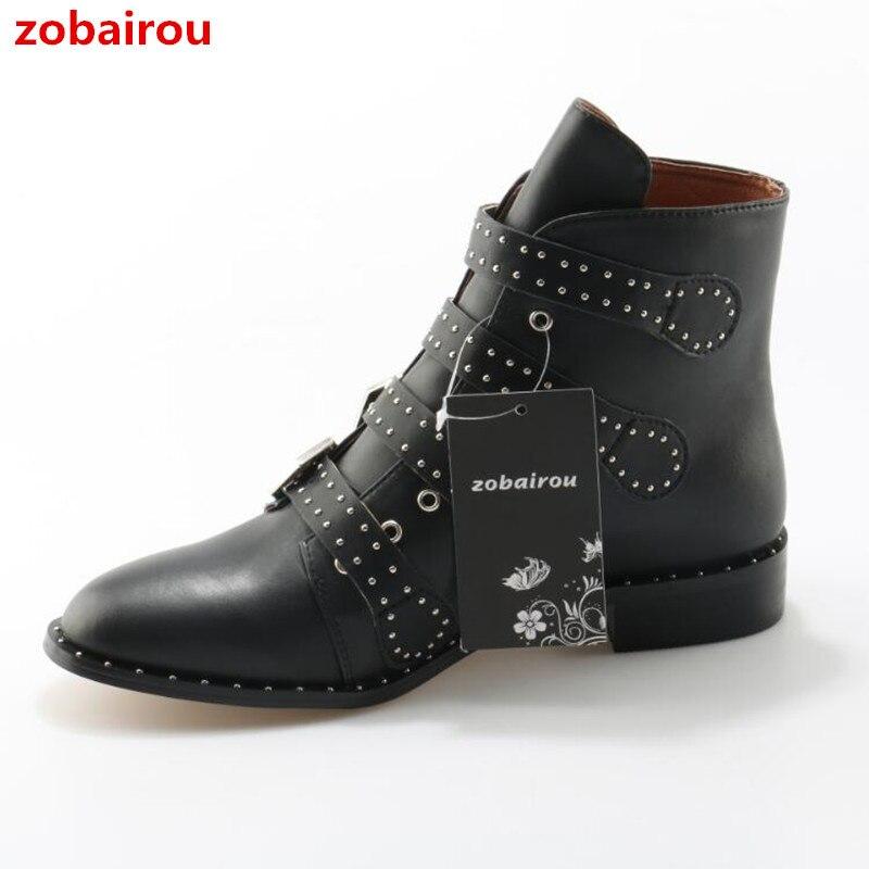 Zobairou Multi Straped Buckle Boots 2017 Street Fashion Chunky Heels Black Leather Studded Combat Bottes Femmes Shoes Women street style stylish buckle embellished multi way black canvas backpack for women