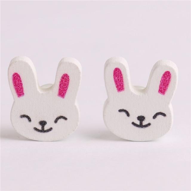 50 unids tela conejo de madera botones de bebé blanco cosas lindas ...