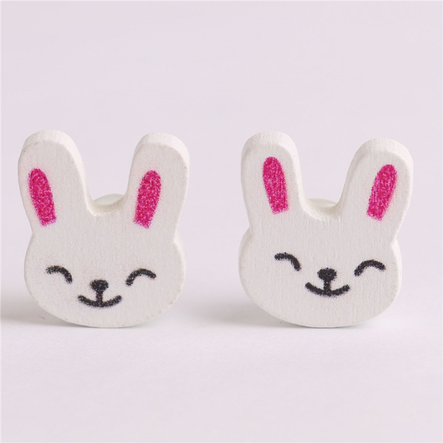50pcs Fabric Rabbit Buttons Wooden White Baby Cute Things Clothes 18 ...