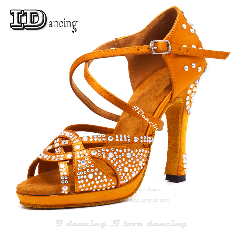 Dance Latin Shoes High Heels with Platform Bronze Latin Dance Shoes Full Rhinestone 12cm Square Dance Shoes For Women BallroomDance Latin Shoes High Heels with Platform Bronze Latin Dance Shoes Full Rhinestone 12cm Square Dance Shoes For Women Ballroom