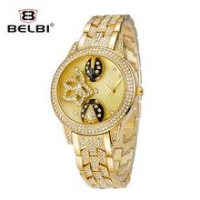 BELBI Marca Mujeres Reloj de Señora Oval de la Aleación de Acero de Cuarzo Reloj de Vestir Rhinestone Mariquita de Oro de Lujo Relojes de Pulsera Relogio Feminino