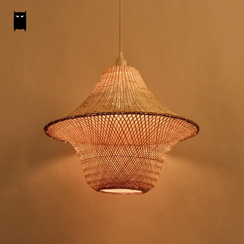 Bamboo Wicker Rattan Hat Cage Shade Pendant Light Fixture Rustic Asian Japanese Hanging Lamp Plafon Dinning Table Study Room bamboo wicker rattan bugle shade pendant light fixture rustic vintage hanging lamp design bar study room kitchen balcony hallway