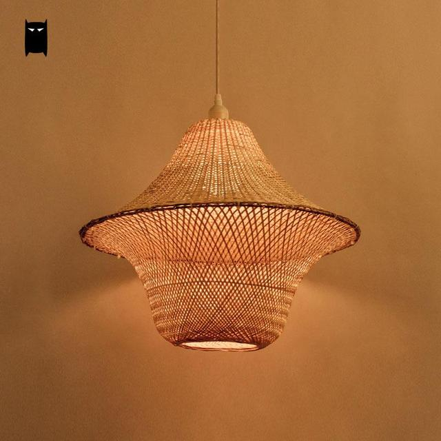 Bamboo Wicker Rattan Hat Cage Shade Pendant Light Fixture Rustic ...