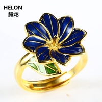 Sterling Silver 925 Yellow Gold Color Women Flower Engagement Ring 5-8mm Pearl Bead Amber Agate Setting Cloisonne Enamel
