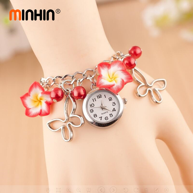 MINHIN Ladies Charm Bracelet Watches Soft Pottery Flower Pendant Silver Butterfl