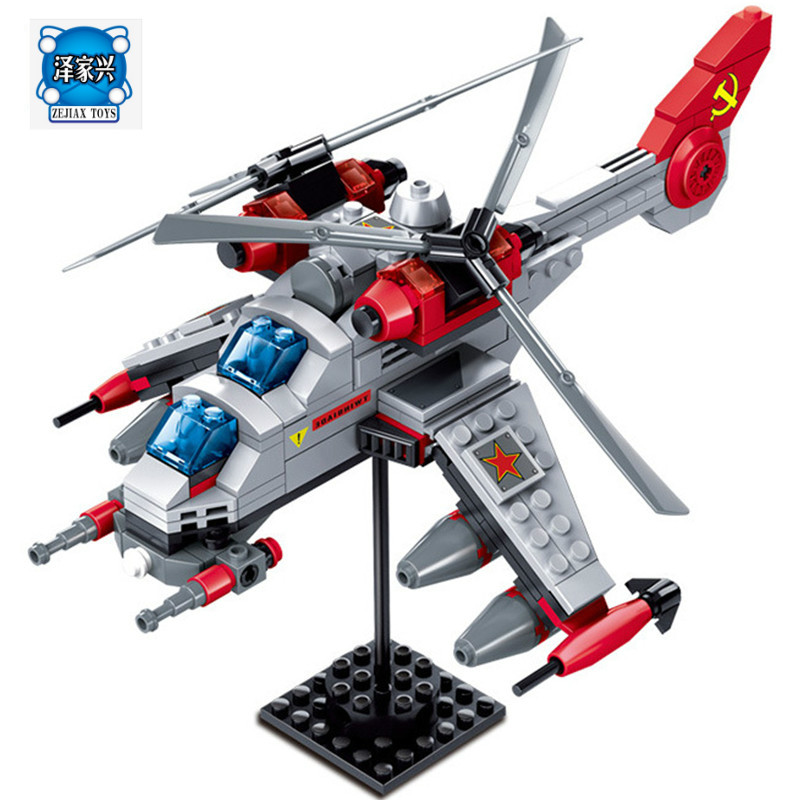 KAZI 81015 Red Alert 3 Series Military Fighter Double blade helicopter Building Blocks Educational LEPINS Toys for children