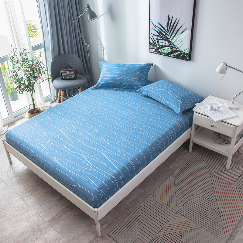 2018 New Product 3pcs 100% Cotton  Blue Stripe Pattern Fitted Sheet Mattress Cover Four Corners With Elastic Band Bed Sheet 2018 New Product 3pcs 100% Cotton  Blue Stripe Pattern Fitted Sheet Mattress Cover Four Corners With Elastic Band Bed Sheet