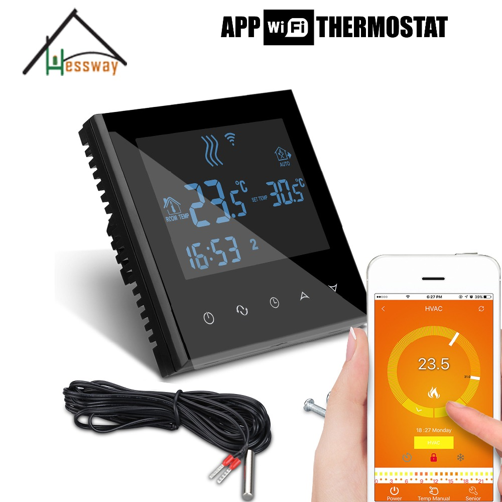 220V 110V 3KW room thermostat wifi for Underfloor heating load for APP ISO Android valve radiator linkage controller weekly programmable room thermostat wifi app for gas boiler underfloor heating
