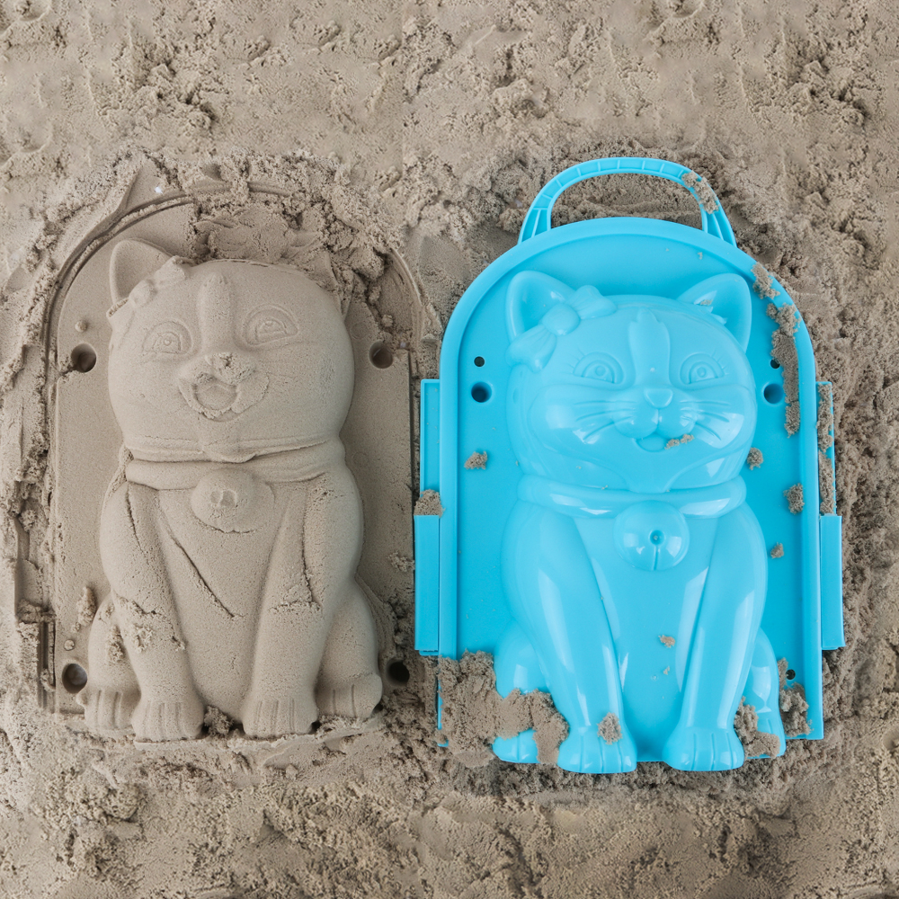Funny Beach Sand Game 3D Cartoon Cat Mold Beach Snow Sand Model Children's Model Toys Children Outdoor Beach Playset
