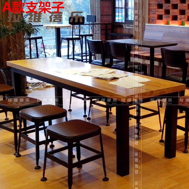 moda americana madera de hierro forjado mesa larga mesa de