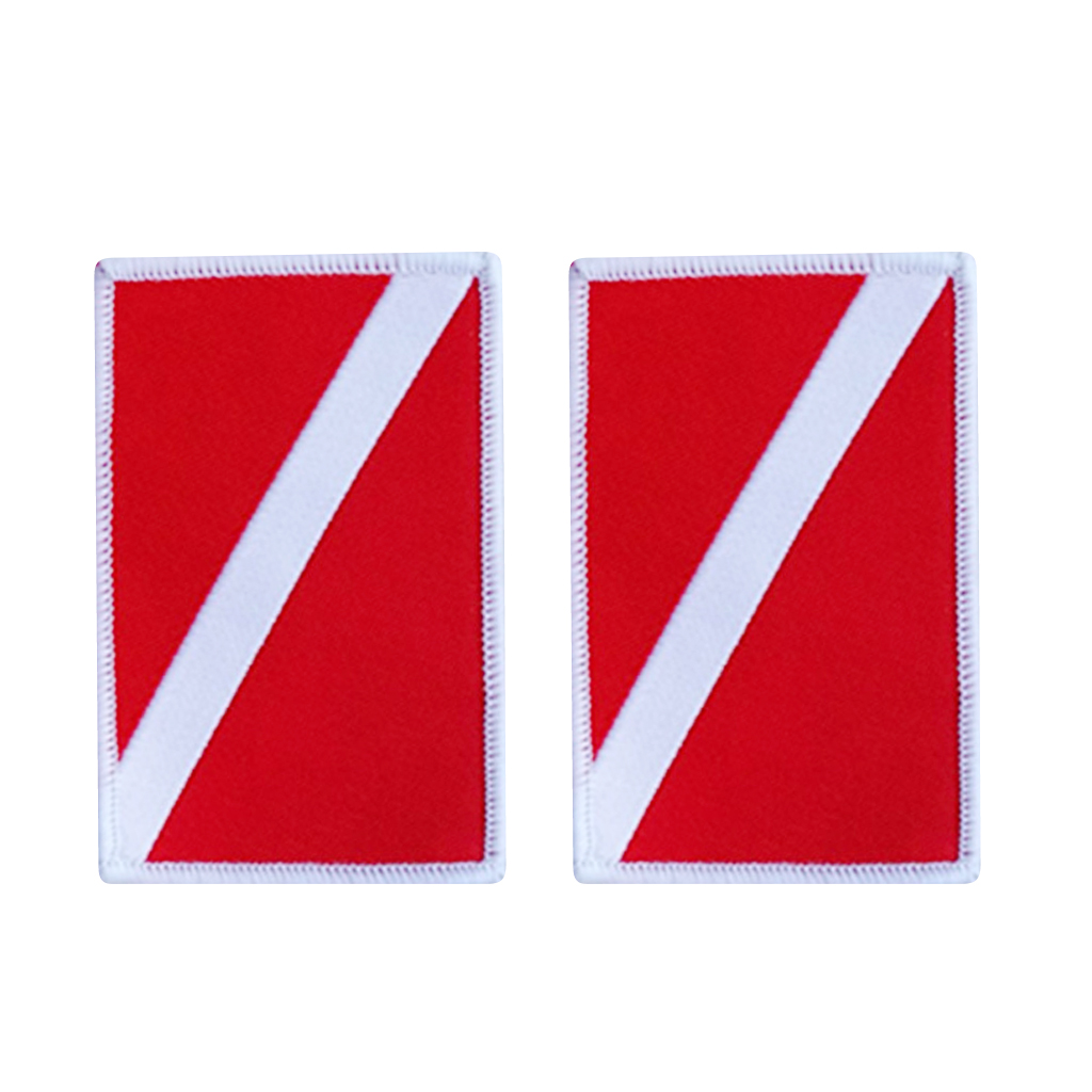 Pack 2 Dive Flag Patches   Embroidered Sew On Patches For Scuba Swimming Diving Backpack Jacket Jeans Hats Pool Accessories