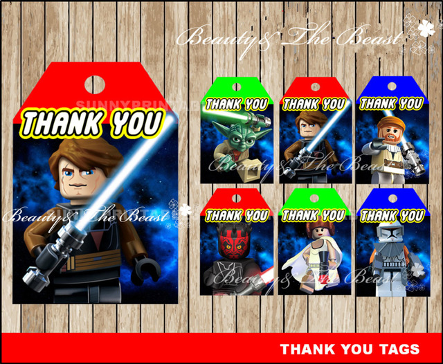 Star Wars Tags Thank You Gift Favors Birthday Party Decorations Kids
