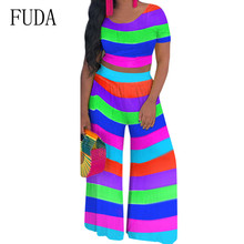 FUDA Two Pieces Sets Striped Wide Leg Jumpsuits Elegant O-neck Short Sleeve Top and Loose Pants Women Summer Casual Bodysuits