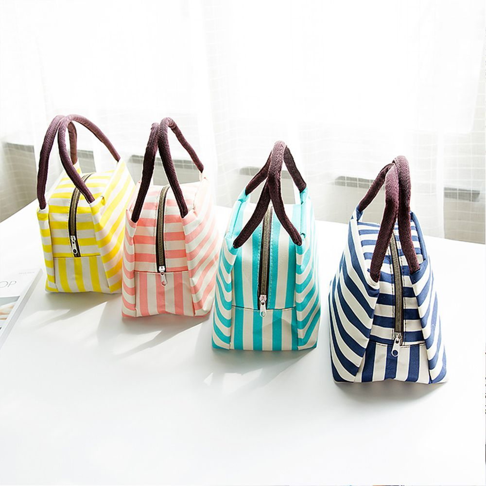 1 pc Portable Work Stripe Cooler Lunch Bag Thermal Insulation Travel Picnic Food Lunch box bag for Women Girls Kids