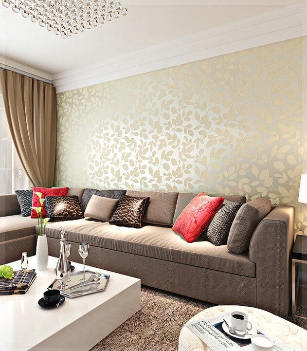 Aliexpress Com Buy Modern Bedroom Living Room Tv Backdrop Simple Non Woven Wallpaper 3d Wallpaper Warm Fashion Leaves Leaf Damask Wallpaper Roll Ta From