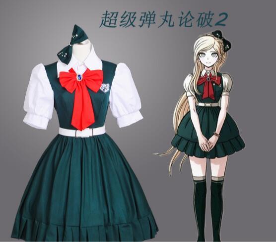 Anime Danganronpa cosplay Sonia Nevermind cos fashion new green dress cosplay woman costume    1