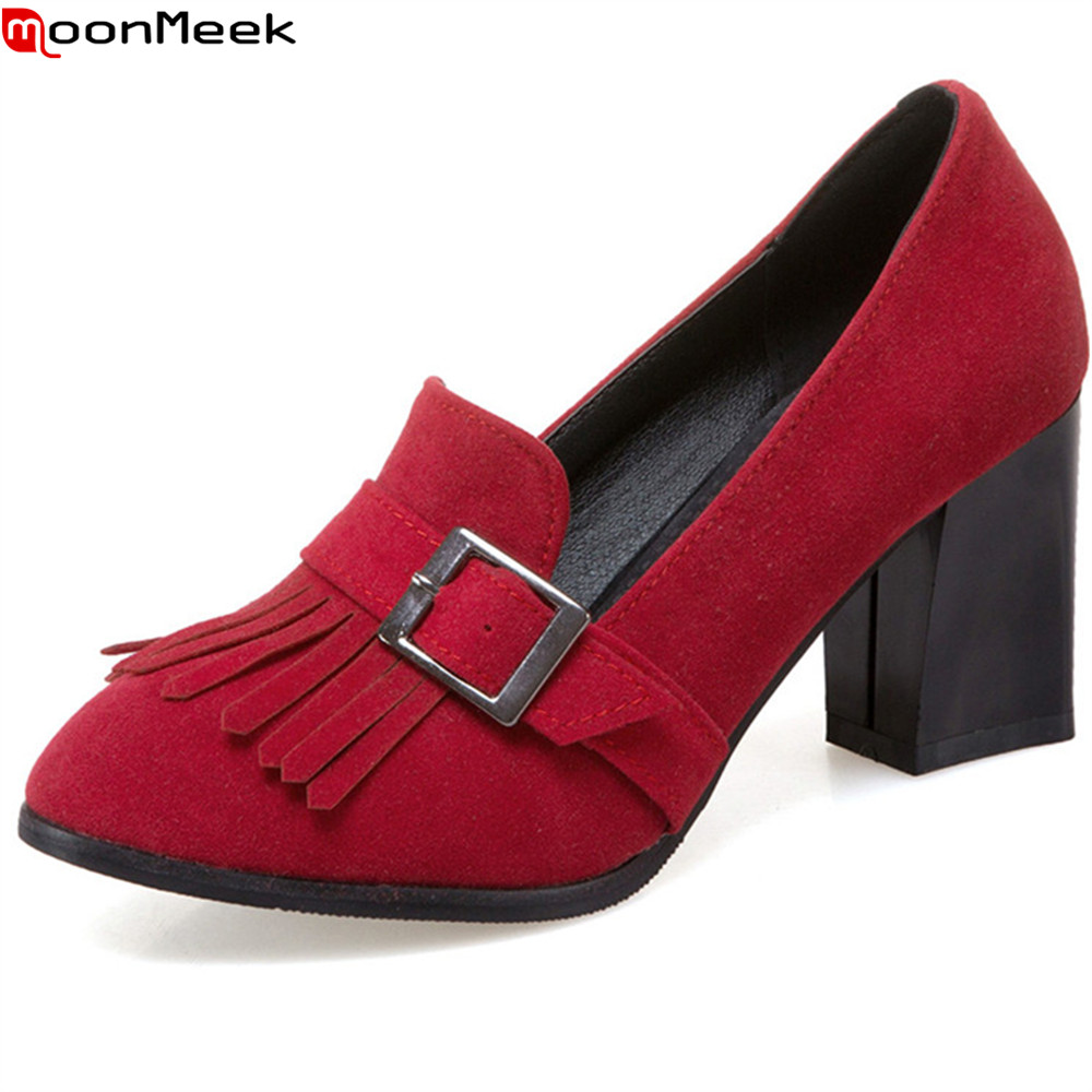 MoonMeek black gray fashion new arrival women pumps round toe spring autumn single shoes thick heel high heels shoes plus size big size eur 34 50 thick heels round toe single shoes spring autumn high heel women shoes fashion pumps lace up low shoes ox119