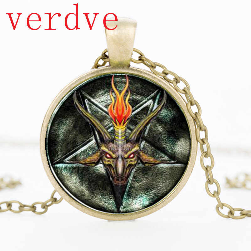 Baphomet Pentagrama Invertido Pendant & Colar De Cabra Satanismo Cúpula De Vidro Colar De Jóias Presente da Festa de Jóias