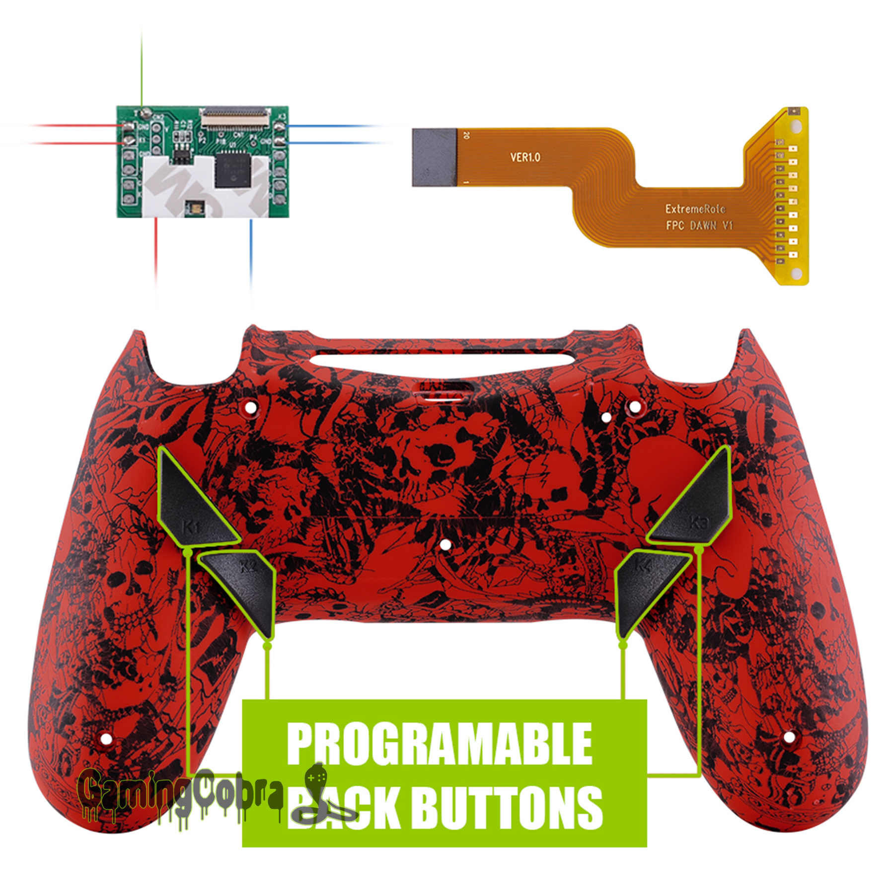 Demons and Monsters Dawn Programable Remap Kit for PS4 Slim Pro Controller <font><b>JDM</b></font> 040/050/<font><b>055</b></font> w/ Custom Back <font><b>Shell</b></font> & 4 Buttons image