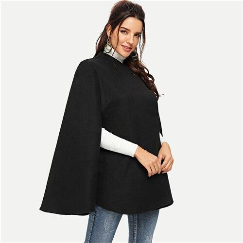 SHEIN Пальто-Пончо С Длинны Рукавом Стильное Пальто Оригинального Кроя - Цвет: Черный