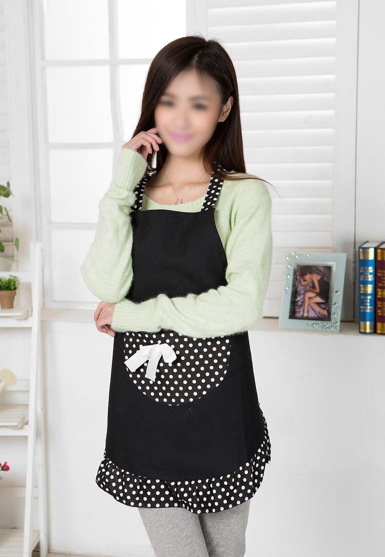 TFBC Hanerdun Womens Apron Ladies Cute Apron Fancy Maid Set Apron, Black Bowknot Apron With pocket