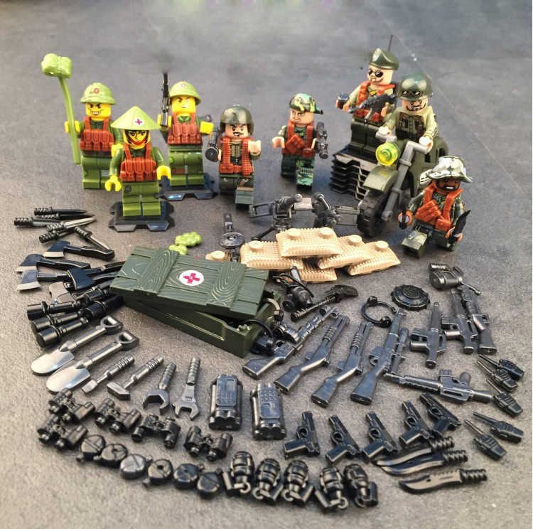 World Modern military brickmania Vietnam War figures building block ww2 American army minifigs weapon gun motorcycle brick toys