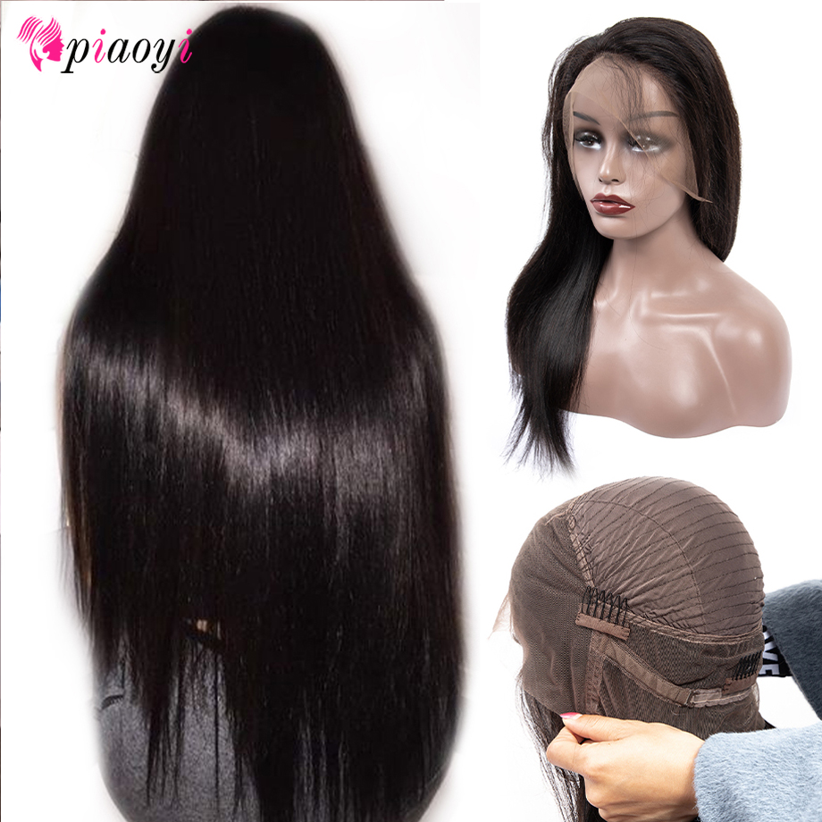 Peruvian 360 Lace Front Human Hair Wigs Pre Plucked Hairline Straight Lace Frontal Wig With Baby