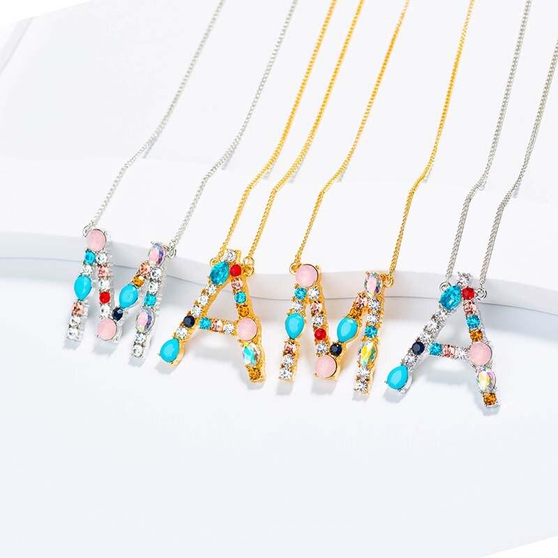 Gros grand collier Initial femmes de luxe en cristal 26 lettre Alphabet bijoux personnalisés or argent couleur déclaration pendentif