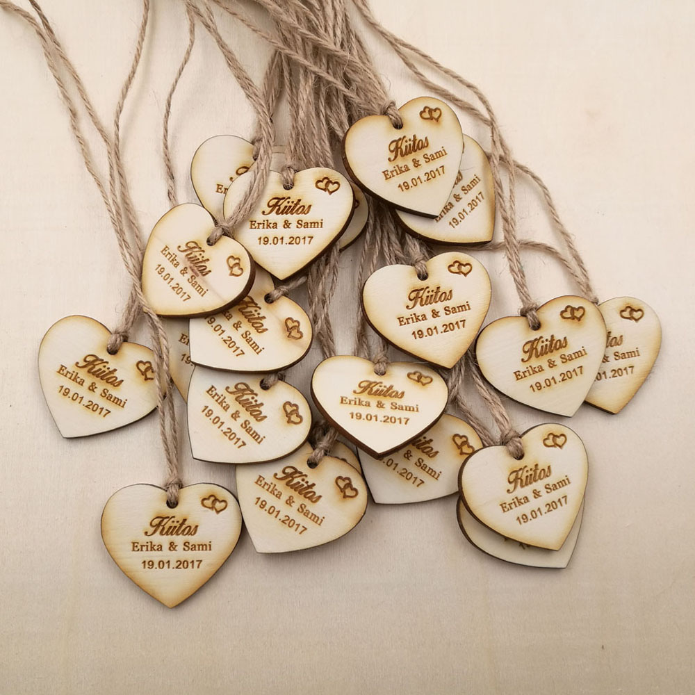 Custom Save The Date Wooden Tags Personalized Wedding Favor Tags