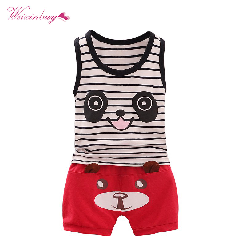 2 pcs/set Baby Boy Summer Set Newborn Sport Suits Cotton Cute Panda Sportswear Striped Vest Suit Shorts