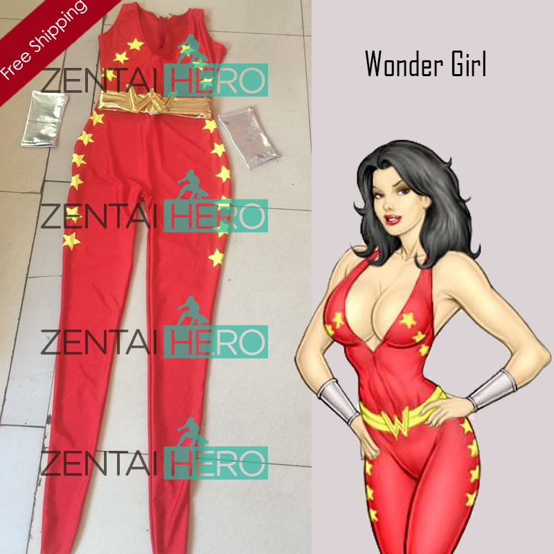 Free Shipping DHL Hot Red Wonder Girl Lycra Spandex Superhero Zentai Catsuit Cosplay Costume For 2017