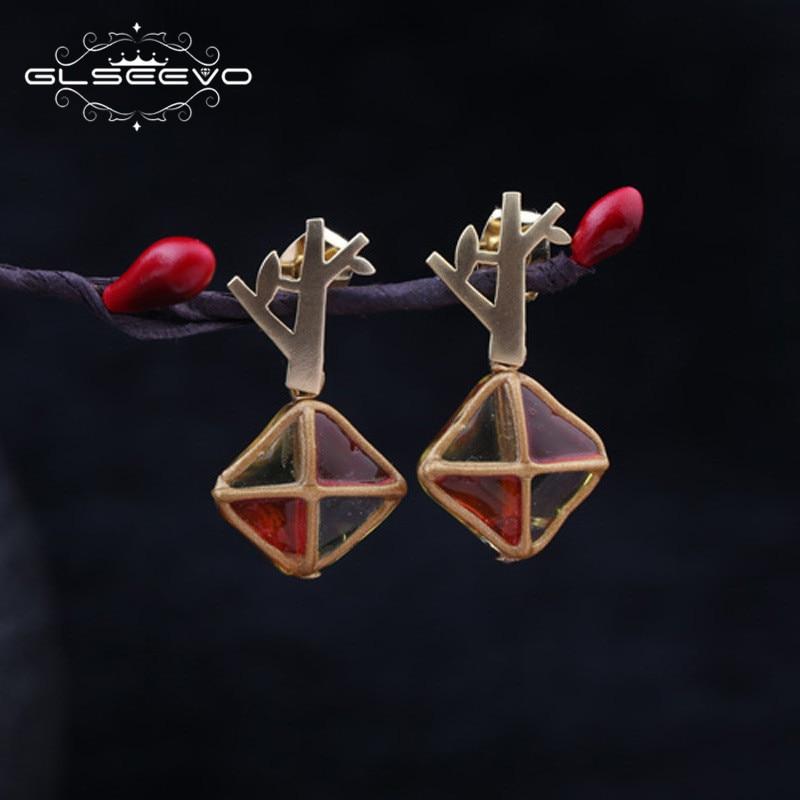 GLSEEVO Geometric Square Orange Glaze Tree Drop Earrings For Women Wedding Earring Luxury Jewelry Boucle DOreille Femme GE0370