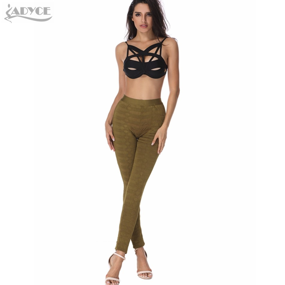 Runway Leggings Skinny Pants Black White Olive Apricot Stereo Jacquard Celebrity Party Bodycon Pants Legging