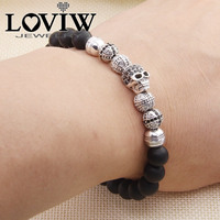 Skull Cross Matted Obsidian Beads Elastic Bracelet European Thomas Style Friendship Punk Silver Bracelets Jewelry Fashion