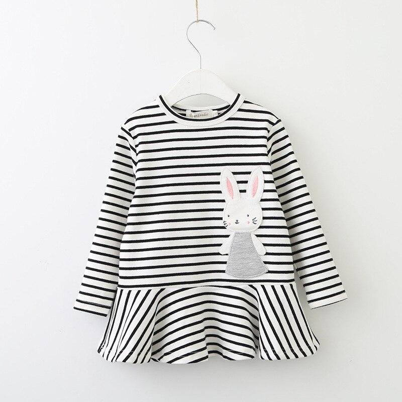 Autumn 2018 New Girl Dresses Cartoon Rabbit Embroidery Stripes Dress Wholesale 3-7 Years