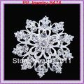 Silver Plated Bling Rhinestone Crystal Wedding Bridal Sach Flower Pin Brooch Stunning Diamante Heart Flower Silver Brooch