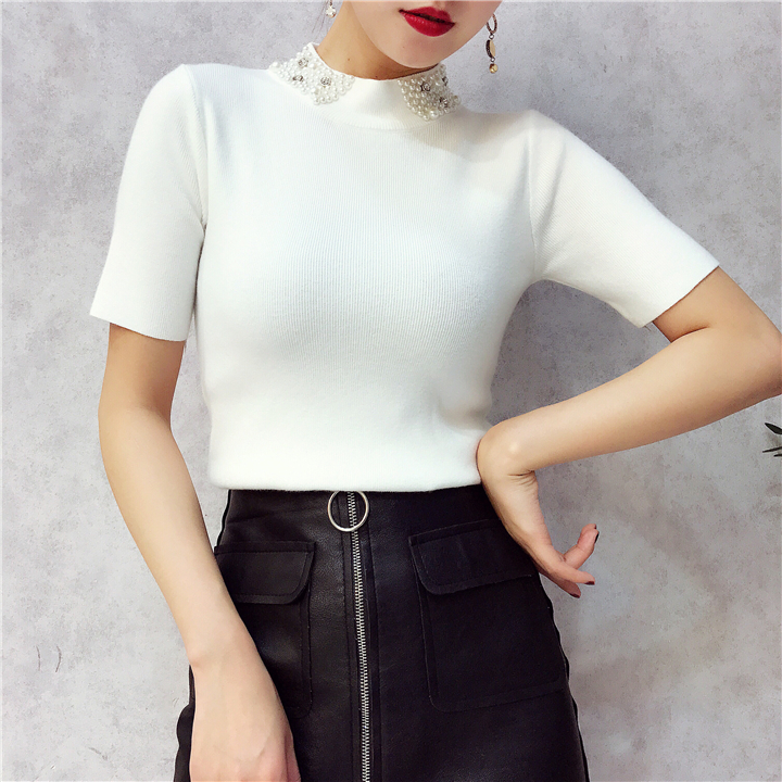 ALPHALMODA 18 Summer Ladies Short-sleeved Pearl Collar Pullovers Casual Slim Knit Sweater Women Studded Fashion Jumpers 18