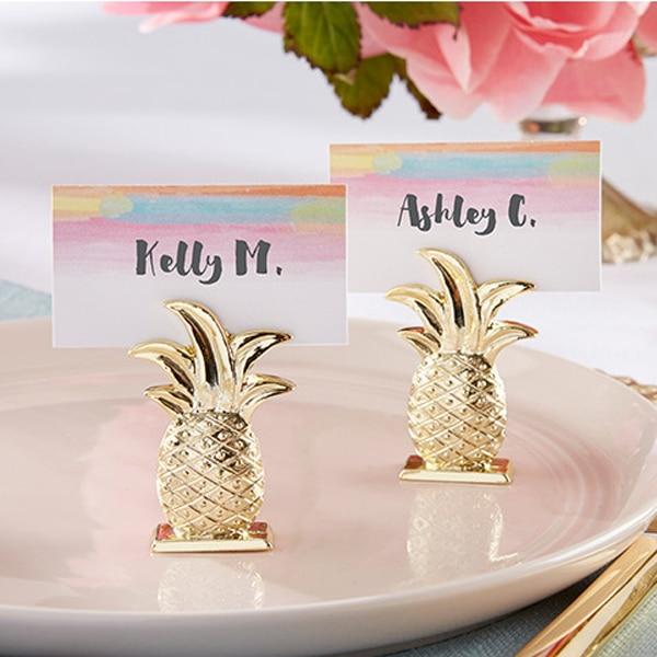 50pcs Lot Wedding Gift Gold Pineapple Place Card Holders Bridal Shower Favor Summer Wedding Favors FREE
