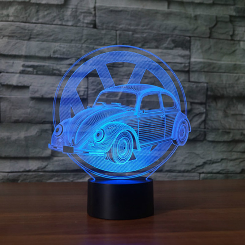 7 Colors Changing Creative Gifts Beetle Car Modelling 3D Led Table Lamp Usb Touch Button Vehicle Night Lights Kids Bedroom Decor