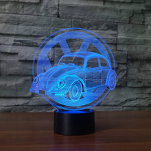 купить 7 Colors Changing Creative Gifts Beetle Car Modelling 3D Led Table Lamp Usb Touch Button Vehicle Night Lights Kids Bedroom Decor дешево