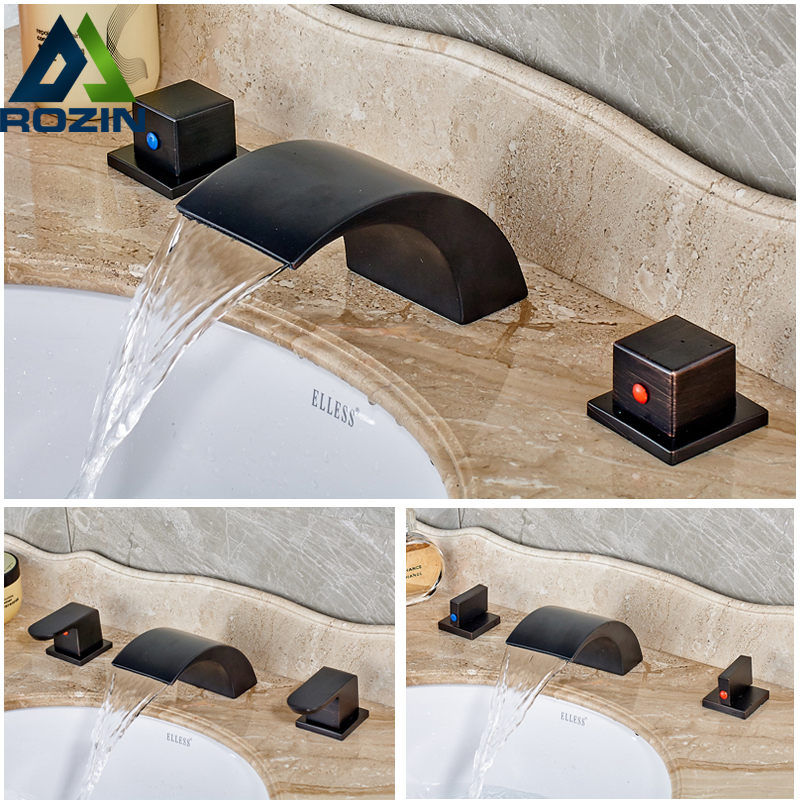 Deck Mounted Two Brass Handles Oil Rubbed Bronze Waterfall Basin Faucet Tap Hot and Cold Water Widespread Mixer Faucet brass automatic sensor faucets cold and hot water mixer sense faucet basin hand washer deck mounted faucet